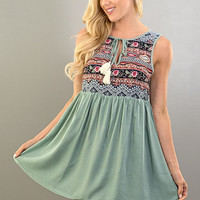Embroidered Tunic - Sage