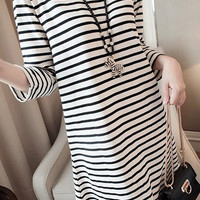 Black and White Stripe Long Sleeve Shift Dress