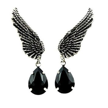 ac spbest Wings w/ Black Stone Gothic Earrings Cosplay
