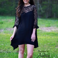 Jodifl Black Dress with Asymmetrical Hemline and Lace Sweetheart Neckline