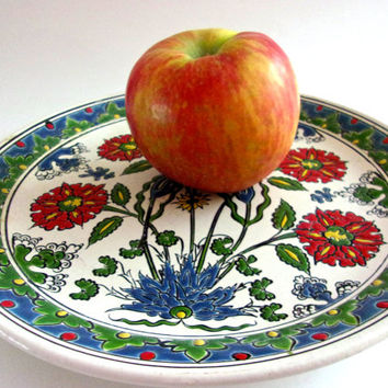 Hand Painted Greek Pottery Flower Plate, Dakas Keramik Archangelos Rodos, Red Flowers, Vintage