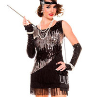Black Tassel Sleeveless Sequin Cosplay Dress Women Halloween Costume