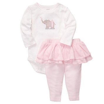 "Carter's Girls ""Daddy's Princess"" 2 Piece Embroidered Long Sleeve Bodysuit with Tutu Pant Set"