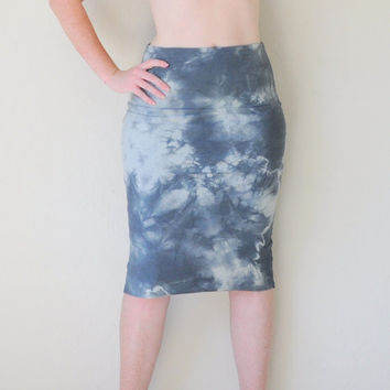 Tie Dyed High Waist Pencil Skirt in Stretch Knit Cotton - Fitted Hand Dyed Pencil Skirt - Wear 2 Ways - Size XS, S, M, L, XL