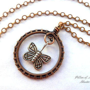 Butterfly necklace Wire wrapped pendant, antiqued copper, Wire Wrapped jewelry handmade, wire jewelry, earthy jewelry, woven wire