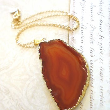 Caramel Tan Agate Jewelry, Agate Slice Necklace, Agate Goede Necklace, Pendant Necklace