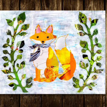 fox print, Bohemian decor, Whimsical Fox Wall Art, Decorative art, Mixed media collage art, Fox Poster, Dapper Fox, Wall Decor