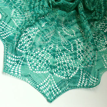 Sea color Hand knitted shawl wedding bridal lovely handmade lace chic elegant scarf stole