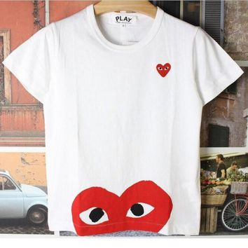 Gotopfashion T-shirt of big red heart T-shirt PLAY the short sleeve cotton round collar top""