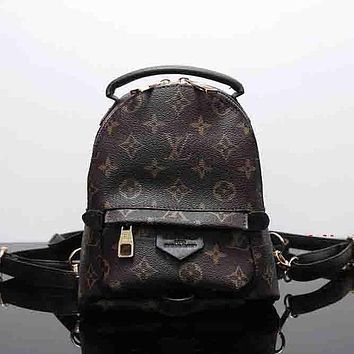 Louis Vuitton Women Leather Bookbag Shoulder Bag Handbag Backpack I