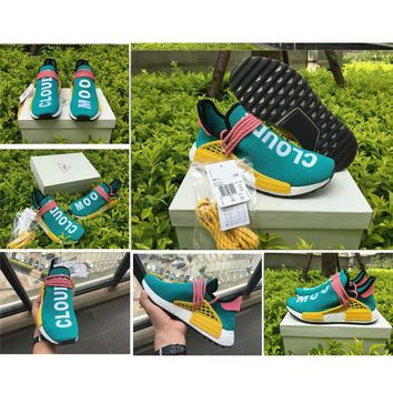 2017 Pharrell Williams NMD Human Race Runner Shoes HU Sun Glow Green Yellow White Men Women Outdoor REAL BOOST Training Sneaker Shoes 36-46