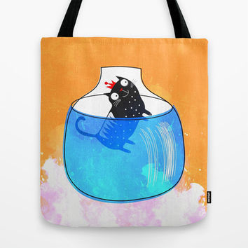 CAT IN A GOLDFISH BOWL Tote Bag by hardkitty