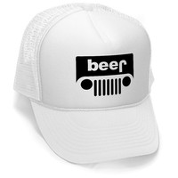 BEER JEEP FUNNY Trucker cap hat osfa one size fits all retro vintage