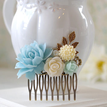 Aqua Blue Ivory Flowers Hair Comb Leaf Branch Floral Hair Accessory Leaf Hair Comb Bridal Hair Comb Aqua Blue Wedding Hair Accessory