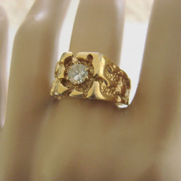 Vintage Uncas 14K Gold Electroplate Cubic Zirconia Nugget Ring / Mens Ring / Designer Signed / Size 8.75 / Vintage Jewelry / Jewellery