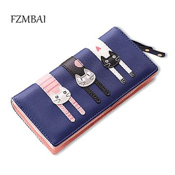 FZMBAI 2017 New Fashion Envelope Women Wallet Cat Cartoon Wallet Long Creative Female Card Holder PU wallet coin purses Girls