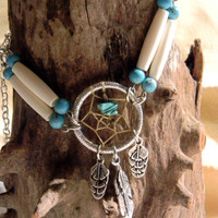 Southwestern Turquoise and Bone Dream Catcher Necklace   (n039)