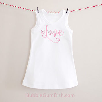 Love Dress Valentine's Day White Dress Girl Outfit Embroidered Sleeveless Dress
