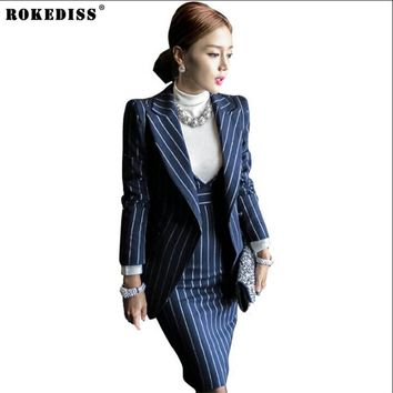 ROKEDISS Women Blazer Suits Elegante With Skirt Cotton Striped Autumn Spring Blazer+Dress 2 Pieces Set For Women Clothes X415