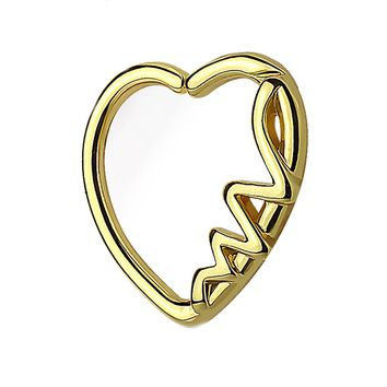 BodyJ4You 16G (1.2mm) Daith Earring Heart Goldtone Helix Earring Cartilage Hoop Body Piercing Jewelry