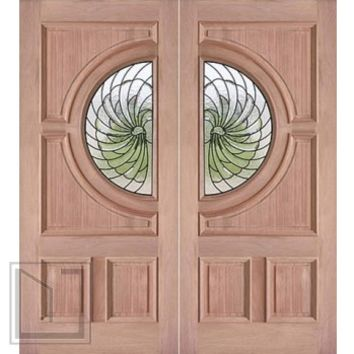 Decorative Circle Lite, Prehung Double Entry Doors, Mahogany