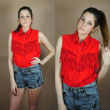 Vintage 1990s red cotton fringe cowboy cowgirl sleeveless oversize button down shirt blouse M L