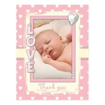 Thank you Baby Girl PinkPhoto Postcard hearts