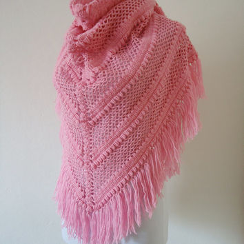 Triangle Pink Crochet Shawl, Bridal Shawl, Hand-Crocheted
