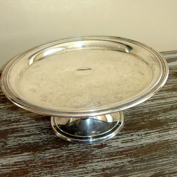Vintage Silver Cake Pedestal Wedding Cake Stand Cake Plate Si : silver plate cake stand - pezcame.com