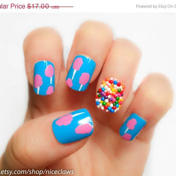 ON SALE Cotton Candy and Sprinkles Fake Nails Katy Perry Inspired