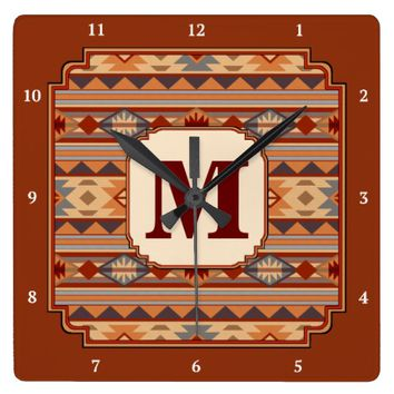 Southwestern Design Monogram Square Wallclocks