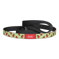 Ladybugs On Green And Your Pet's Name Pet Leash