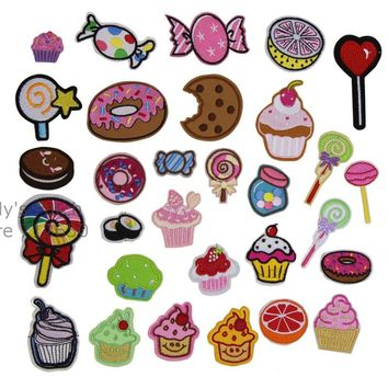 Free Shipping 10 pcs Sugar Ice cream candy lollipop Sushi embroidered iron on Patches hat bag shoe clothing decor repair diy