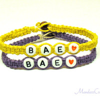 Set of Two Bracelets, BAE, Purple and Yellow Hemp Jewelry