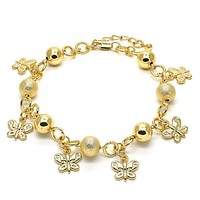 Gold Layered 03.179.0049.10 Charm Anklet , Butterfly Design, Matte Finish, Golden Tone