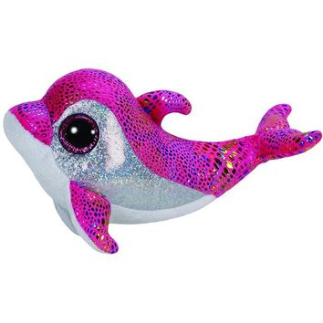 "Pyoopeo Ty Beanie Boos 6"" 15cm Sparkles the Pink Dolphin Plush Regular Soft Big-eyed Stuffed Animal Collection Doll Toy with Tag"