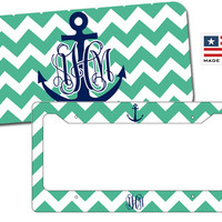 Chevron Anchor License Plate - Anchor Chevron License Plate Frame - Personalized Chevron License Plate - Monogrammed Chevron License Plate