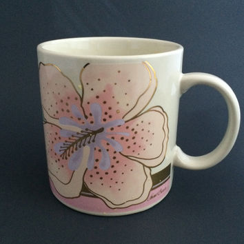 Vintage LAUREL BURCH Wild Hibiscus Coffee Mug Cup Gold Trim Pink Flowers Signed