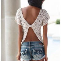 Crochet Open Back Top, cute!