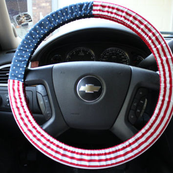 Dots and Stripes Flag Steering Wheel Cover American Army Navy Airforce Marine Patriotic