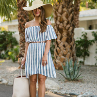 Jenn Off the Shoulder Striped Navy Dress