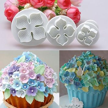 3pcs/set Home DIY Bakeware Flower Plunger Cutter Molds Embossed Stamp For Fondant Cake Cookie