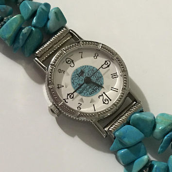 Vintage LA EXPRESS Gemstone Band Watch / Ladies Turquoise Dyed Halolite Wrist Watch / Blue Green Beaded Boho Watch Band / Silver Tone Case