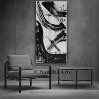 Large Minimalist Black and White abstract painting, canvas art, minimalist painting, black and white, Hand Painted by Nandita Albright