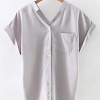 Grey Roll-up Cuff Buttons Front Pocket Chiffon Blouse