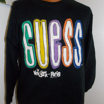 Vintage Guess Jeans 1980's Sweatshirt In New York Paris Adult One Size