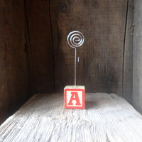 Wooden Alphabet block/ letter A/ Letter Z/ wire photo holder/ rustic picture holder