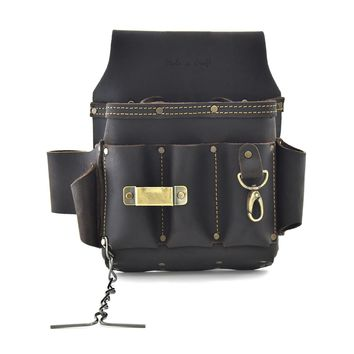 70603 - 10 Pocket Electrician's Tool Pouch in Top Grain Oiled Leather