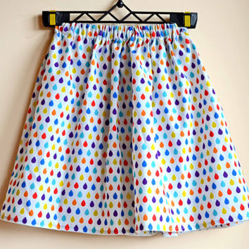 Midi skirt, boho clothing, Summer skirt / elastic waist / pinup style / boho skirt / festival fashion / raindrops print