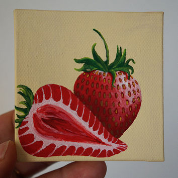 Hand Painted Stawberries, Strawberry Painting, Mini Canvas Painting, Kitchen Painting, Fruit Slice Painting, Canvas Painting, Mini Art